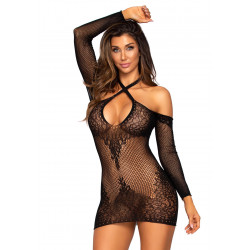 Leg Avenue Twist Halter Mini Dress Black