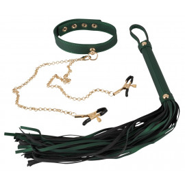 Bad Kitty Bondage Set Whip and Collar with Nipple Clamps