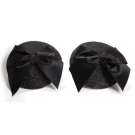 Bijoux Indiscrets Burlesque Pasties Bow Black - Ornaments For Nipples