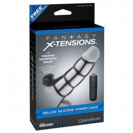 Pipedream Fantasy X-tensions Deluxe Silicone Power Cage - Silicone Vibrating Penis Sleeve