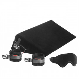 Liberator Black Label Wedge with cuffs - Erotic Love Pad with Ties To Black