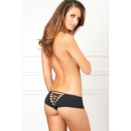 René Rofé Crotchless Lace Up Back Panty Black