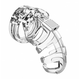 Shots ManCage Chastity Cock Cage 3.5 Inch Model 02 Transparent