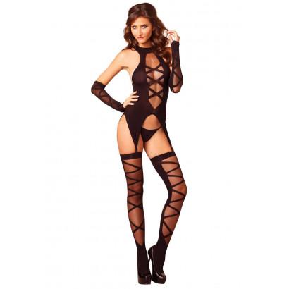 Leg Avenue Camigarter, Stockings & Gloves 89128 Black
