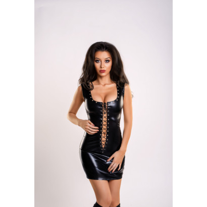 Glossy Wetlook Dress with Lacing