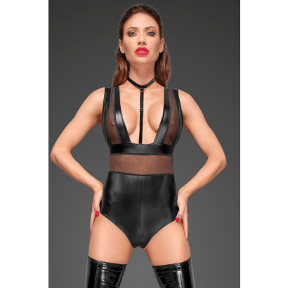 Noir Handmade F183 Powerwetlook Body with Wide Straps, Tulle Inserts and Velvet Choker