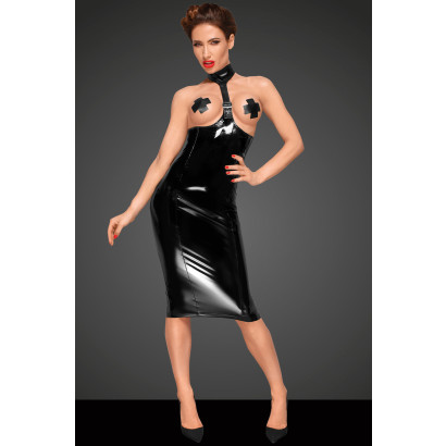 Noir Handmade F192 PVC Dress with Long 2-way Zipper on The Back and Eco Leather Choker