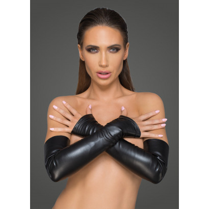 Noir Handmade F213 Elastic Eco Leather Fingerless Gloves