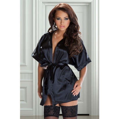 New Music Legs 56064 Black Satin Long Sleeve Robe