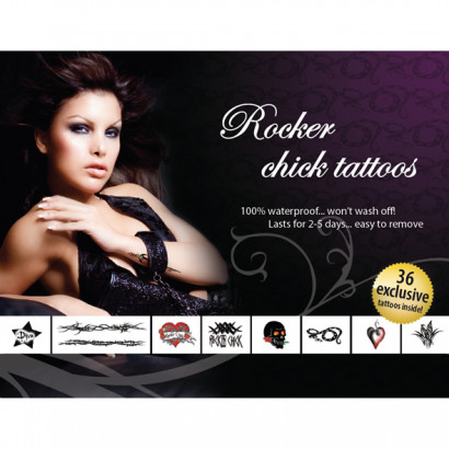 AdultBodyArt Tattoo Set Rocker Chick - Set For Temporary Tattoos