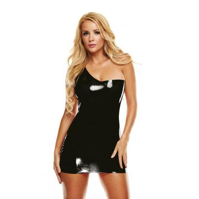 LatexWear Premium Latex Off-Shoulder Mini Dress Black