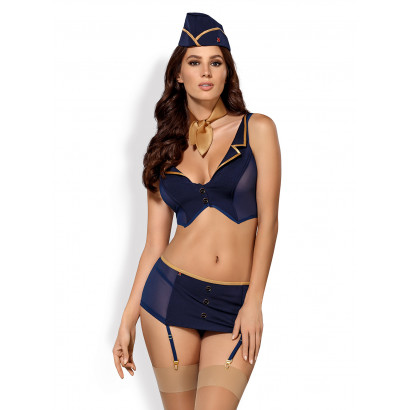 Obsessive 816-CST-6 Stewardess Costume 5 pcs Navy Blue