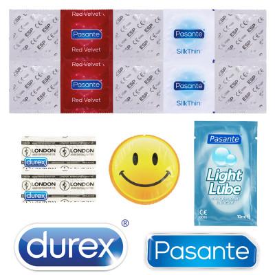 Csomag 13 óvszerből Durex, Pasante, Vitalis és EXS + síkosító Pasante 10ml INGYEN mint ajándék