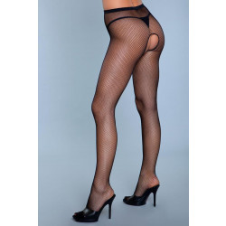Be Wicked Go Fish Crotchless Pantyhose Black