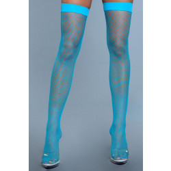 Be Wicked Nylon Fishnet Thigh Highs Turquoise