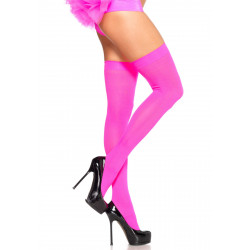 Leg Avenue Nylon Thigh Highs 6672 Neon Pink