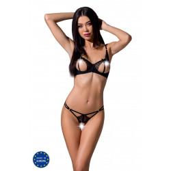 Passion Esmeralda Set with Open Bra Black