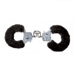 Toyjoy Furry Fun Cuffs - Plüss fém bilincsek Fekete