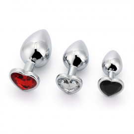 Black Label 3 Size Alu Plug Set with Colored Heart Shaped Stone