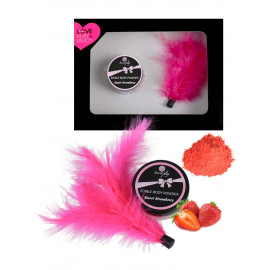 Secret Play Box Edible Body Powder Sweet Strawberry & Feather Fuchsia