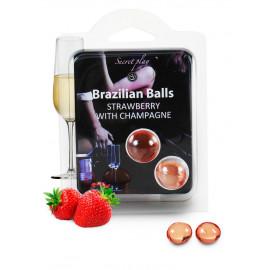 Secret Play Brazilian Balls Strawberries Champagne 2 pack
