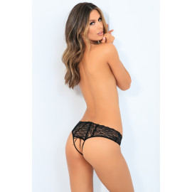 René Rofé All Tied Up Open Back Panty Black