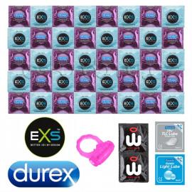 Durex Air Thin Csomag ultravékony óvszer - 42 Durex és EXS óvszer + Pasante síkosító és revolúciós Wingman óvszer, mint ajándék