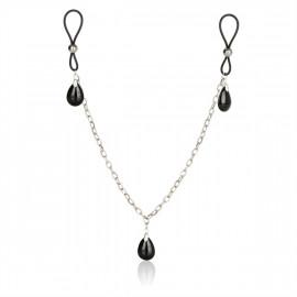California Exotics Nonpiercing Nipple Chain Jewelry Onyx - Mellbimbó dísz
