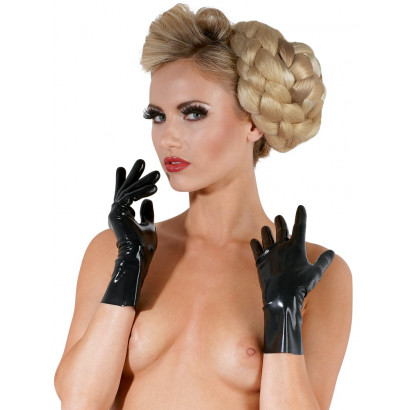 LateX Short Latex Gloves Black