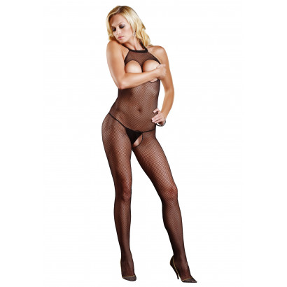 Leg Avenue Fishnet Halter Bodystocking 8350 Fekete