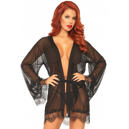 Leg Avenue Sheer Robe with Flared Sleeves 86107 Black
