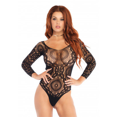 Leg Avenue Snap Crotch Thong Back Teddy 89161 Black