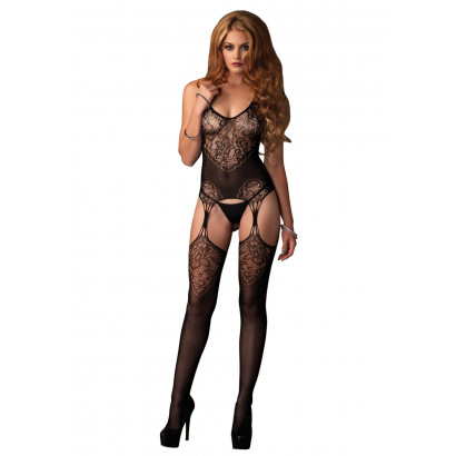 Leg Avenue Jacquard Net Bodystocking 89175 Fekete