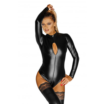 Noir Handmade F134 Powerwetlook Body with 3-way Zipper Monarch
