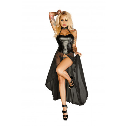 Noir Handmade F139 Powerwetlook with Tulle Long Dress with Rocky Eyeletes Gun