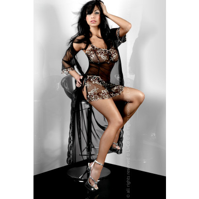 LivCo Corsetti Hera Dressing Gown Fekete